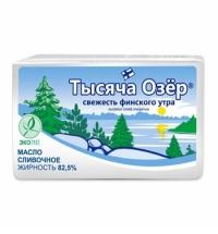 Масло сливочное Тысяча Озер 82.5% несоленое, 180г