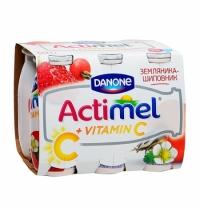 Кисломолочный напиток Actimel натуральный земляника-шиповник 100г х 6шт