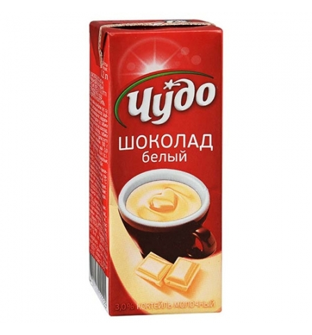 фото: Молочный коктейль Чудо 3% белый шоколад 200г