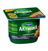 Йогурт Активиа черника-злаки-семена льна 2.9%, 150г