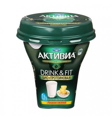 фото: Йогурт питьевой Активиа Био+Протеиновая с бананом и овсянкой 1.3%, 250г