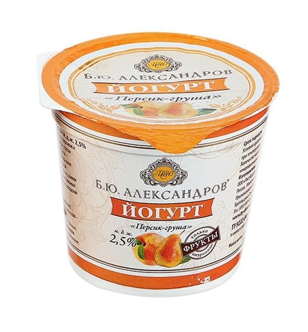 фото: Йогурт Б.ю. Александров персик-груша 2.5%, 125г