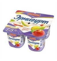 Йогурт Эрмигурт Сливочный яблоко-груша 7.5%, 4х115г