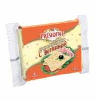Сыр плавленый President Мастер Бутерброда 40% 150г, с ветчиной