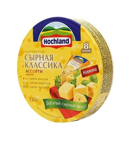 фото: Сыр плавленый Hochland сливочный-грибы-огурец 55% 140г