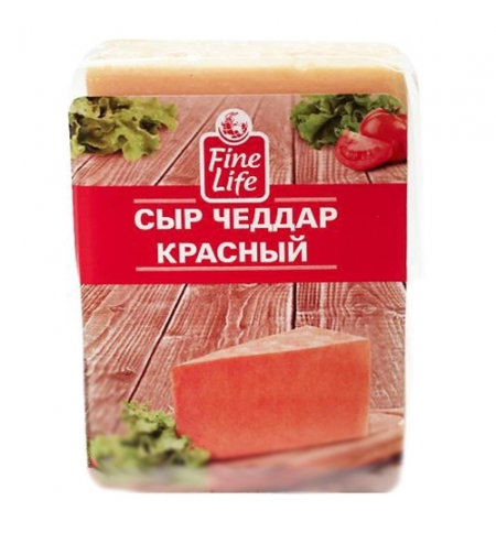 фото: Сыр твердый Fine Life Чеддер красный 50% 250г