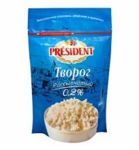 Творог President 0.2% рассыпчатый, 900г