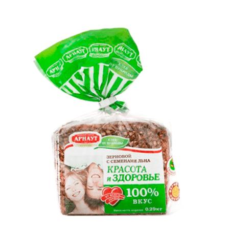 фото: Хлеб Арнаут Зерновой красота и здоровье с семенами льна, 290г