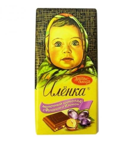 фото: Шоколад Красный Октябрь Аленка с фундуком и изюмом 100г