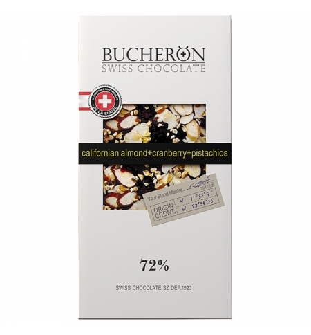 фото: Шоколад Bucheron Swiss Chocolate Village с миндалем/клюквой/фисташкой 100г, горький