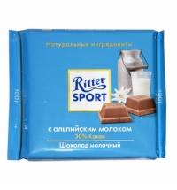 Шоколад Ritter Sport 100г с альпийским молоком молочный