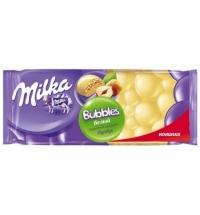 Шоколад Milka Bubbles белый пористый с цельным фундуком, 83г