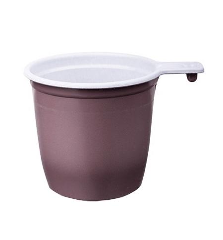 фото: Чашка одноразовая бело-коричневая 50шт/уп, 200мл