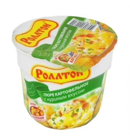фото: Картофельное пюре быстрого приготовления Роллтон с куриным вкусом 40г, с сухариками