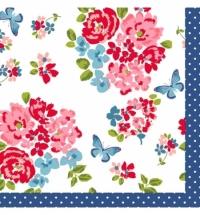 Салфетки сервировочные Duni Sweet Roses 33х33см, 3 слоя, 20шт