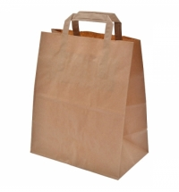 Пакет бумажный с плоскими ручками 24х14х28см, крафт70