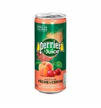 Напиток газированный Perrier персик-вишня 250мл, ж/б