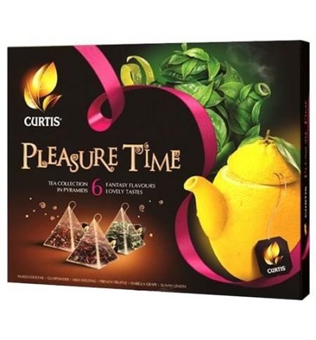 фото: Чай Curtis Pleasure Time (Плеже Тайм) ассорти, в пирамидках, 32 пирамидки