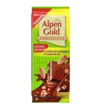 Шоколад Alpen Gold соленый миндаль и карамель 90г