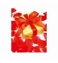 Пакет подарочный Eureka Красный бант и лепестки, 26x32.5см