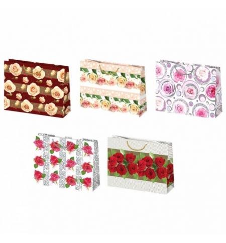 фото: Пакет подарочный Pol-Mak Цветочный орнамент, 38х29см, 5 мотивов ассорти