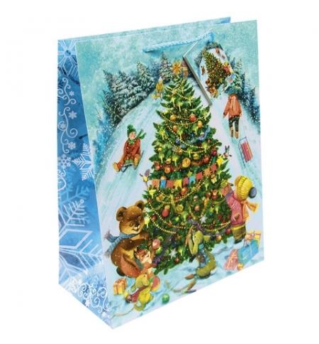 фото: Пакет подарочный Новогодние гуляния, 17.8х22.9см, ламинированный, с тиснением