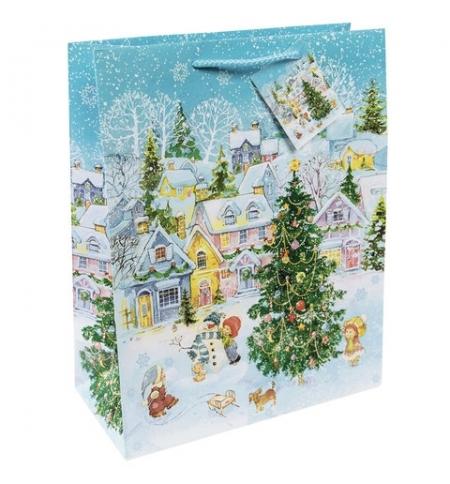 фото: Пакет подарочный Новогодняя площадь, 17.8х22.9см, ламинированный, с тиснением