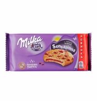 Печенье Milka Sensations с начинкой и кусочками молочного шоколада, 156г