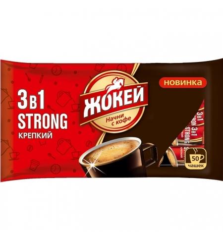 фото: Кофе порционный Жокей Крепкий 3в1 50шт х 12г растворимый, пакет